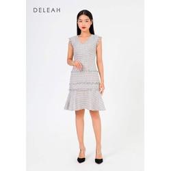 De Leah -Đầm Ôm Xoè Tweed Tua Rua - Thời trang thiết kế