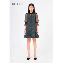 De Leah - Đầm Suông Tweed Pha Ren Lưới - Thời trang thiết kế
