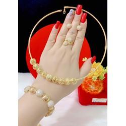 Set bộ trang sức kiểu bi 4 món màu vàng 18 cao cấp mẫu mới về