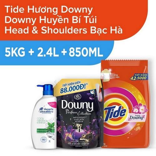 Bột giặt tide hương downy gói 5kg + nước xả vải downy huyền bí túi 2.4l + dầu gội head và shoulders bạc hà mát lạnh - 850ml - 19934807 , 25113923 , 15_25113923 , 529000 , Bot-giat-tide-huong-downy-goi-5kg-nuoc-xa-vai-downy-huyen-bi-tui-2.4l-dau-goi-head-va-shoulders-bac-ha-mat-lanh-850ml-15_25113923 , sendo.vn , Bột giặt tide hương downy gói 5kg + nước xả vải downy huyền bí