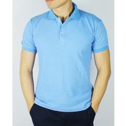 Áo phông ngắn tay nam cổ bẻ màu xanh dương chất đẹp
