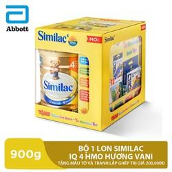 Bộ 1 lon Similac IQ 4 HMO hương vani 900g tặng tô màu và tranh lắp ghép trị giá 200,000đ
