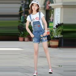 [FREE SHIP] Quần Yếm  jean nữ Short Phối Nút Thêu Logo