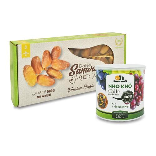 Combo chà là khô nguyên cành deglet nour tunisia hộp 500g + nho khô mix chile lon 250g smile nuts