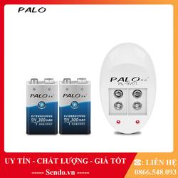Bộ 2 Pin Vuông 9v Palo 300mAh + Tặng Sạc Pin Vuông 9v