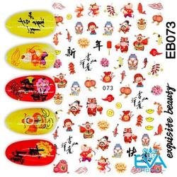Miếng Dán Móng Tay 3D Nail Sticker Tráng Trí Hoạ Tiết Tết Thần Tài EB073