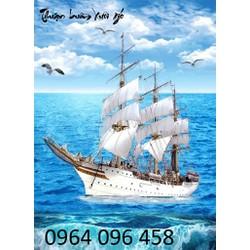 tranh gạch men 3d thuyền buồm DKL20