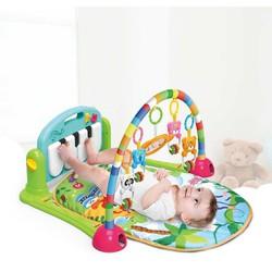 Thảm cho bé nằm chơi có nhạc màu ngẫu nhiên - Tặng kèm 01 gối lõm đinh lăng cho bé