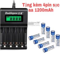 Combo Bộ Sạc Pin AA, AAA K93B Doublepow tự ngắt khi đầy Tốc Độ Cao Hiển Thị Màn Hình LCD tặng kèm pin sạc aa 1200mAh