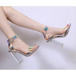Giày cao gót quai trong ánh kim 9p gót trong siêu sang luxury