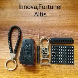 Bao khóa da ô tô cao cấp kèm móc khóa hãng -thẻ số điện thoại-dây treo
