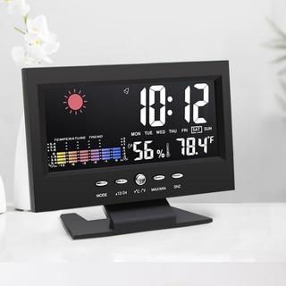 Đồng Hồ Để Bàn LED LCD Báo Thức Thời Tiết Cảm Biến Âm Thanh Cao Cấp 206759 - đen - 206759 thumbnail