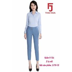 Quần tây 9 tấc Thái Hòa 2 ly nổi màu xanh biển 2-79-15