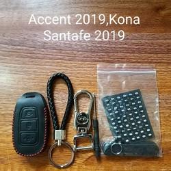 Bao khóa da ô tô Accent- Kona-Santafe kèm móc khóa hãng và dây đeo