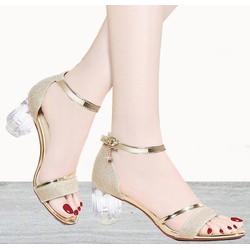 Giày gót vuông nữ gót Mika quai ánh kim- Giày cao gót 5 phân – 2 màu vàng – đen