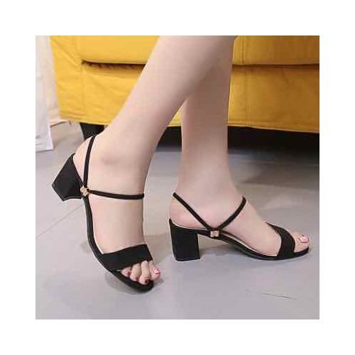 Giày sandal gót 5 phân quai ngang
