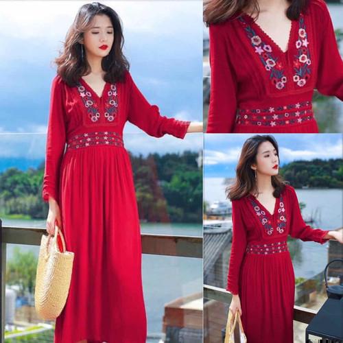 Đầm váy maxi đũi cổ v thêu hoa đối xứng đỏ - 19995750 , 25189801 , 15_25189801 , 280000 , Dam-vay-maxi-dui-co-v-theu-hoa-doi-xung-do-15_25189801 , sendo.vn , Đầm váy maxi đũi cổ v thêu hoa đối xứng đỏ