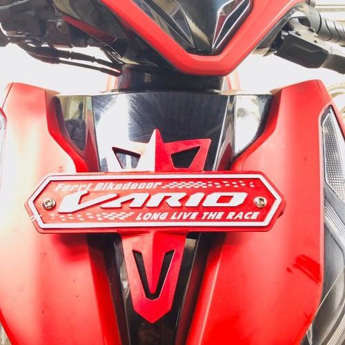Sản phẩm ốp mặt nạ bảng tên xe máy honda vario nhôm trang trí xe máy nhiều màu lựa chọn