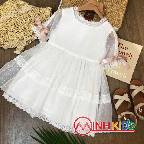 Váy ren pink smooth trắng cho bé gái