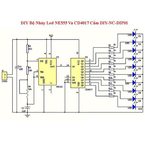 Diy bộ nháy led ne555 va cd4017 cắm diy-nc-dip01