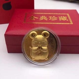 Đô ng Xu Chuột Vàng May Mắn Kèm Túi Và Hộp Đồng Xu May Mắn - GD0684 thumbnail