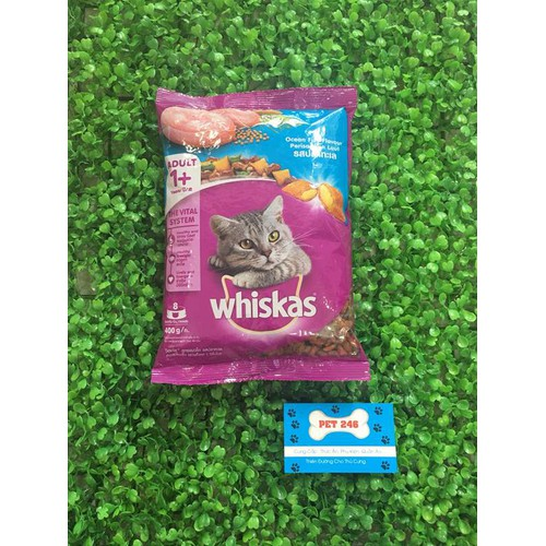 Thức ăn hạt khô dành cho mèo trưởng thành whiskas túi 400g - vị cá biển