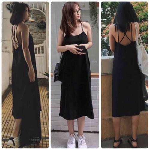 Đầm maxi đen dây lưng kèm hình thật