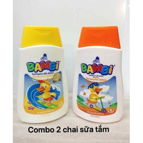 Combo 2 chai dầu gội trẻ em bambi nhập khẩu eu 300ml