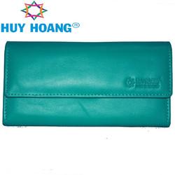 Ví nữ da bò cao cấp Huy Hoàng 3 gấp lửng màu xanh lá cây EH3168