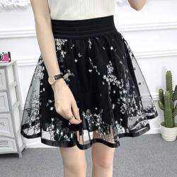 Chân váy xòe ngắn họa tiết hoa thạch anh cv05