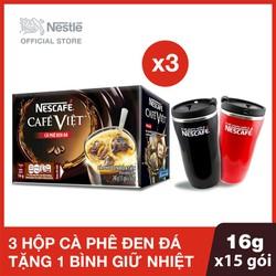Mua 3 Hộp Nescafe Cafe Việt Đen Đá - 15 gói x 16g Tặng 1 ly giữ nhiệt cao cấp