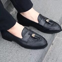 [DN6633] Giày chuông lười da nam, giày da nam công sở dập vân cá sấu [Bảo hành da 1 năm]