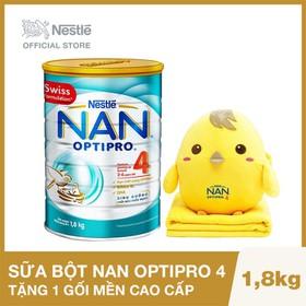 Mua 1 Lon Sữa Bột Nestle NAN Optipro 4 - 1.8kg Tặng 1 bộ gối mền cao cấp Hà Mã, Cá Voi hoặc Gà (Lưu ý: Quà tặng có thể thay đổi bất kỳ) - NAN029425