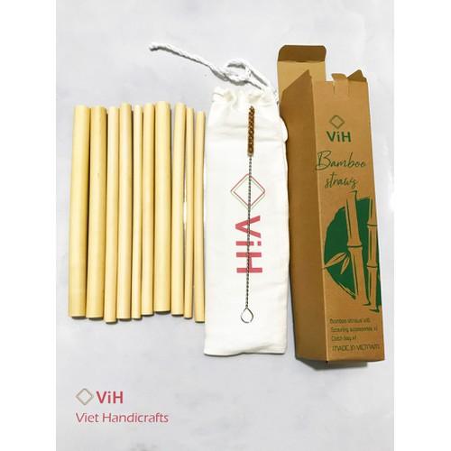 Ống hút tre - combo hộp 10 ống hút tre + 1 túi vải + 1 cọ xơ dừa - việt handicraft