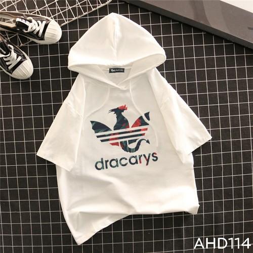 Ahd114 áo thun teen nam nữ hoodie tay lỡ có nón hình rồng dracarys