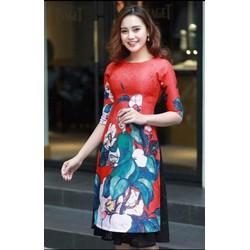 Áo dài nữ  họa tiết chim công, hoa bướm trắng gấm đỏ, họa tiết xuân size M, L, XL, 2XL thiết kế