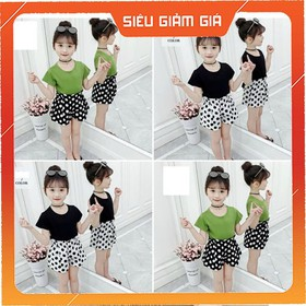 COMBO 2 bộ quần áo trẻ em mẫu quần chấm bi dành cho bé gái 18-28kg chất vải cotton - COMBO MẪU QUẦN CHẤM BI