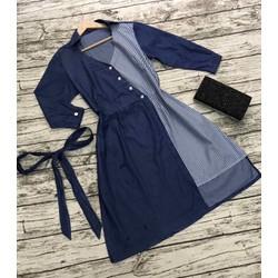 Đầm jean phối sọc