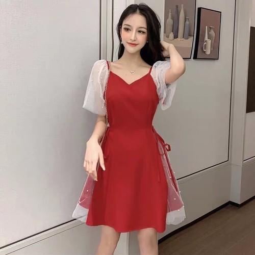 Đầm nữ tay lưới dáng xòe