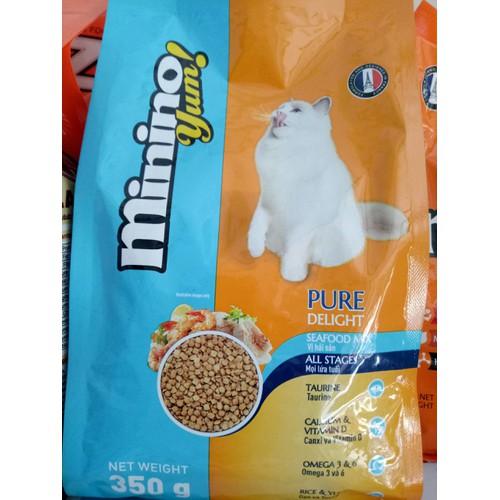 Minino yum -thức ăn mèo vị  hải sản gói 350g