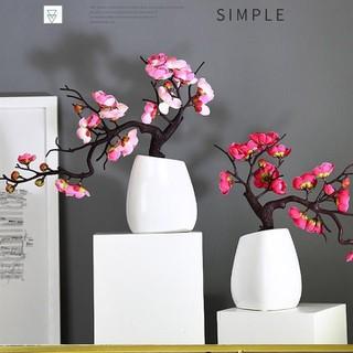 Chậu bonsai đào nghệ thuật để bàn, cây hoa giả trang trí - chậu đào bonsai thumbnail