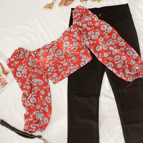 Áo crop hoa tay phồng|áo nữ tay dài