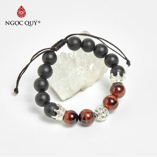 Vòng tay đá obsidian phối thạch anh mắt hổ nâu đỏ và vương miệng bạc 10mm, đk 52mm - ngọc qúy gemstones