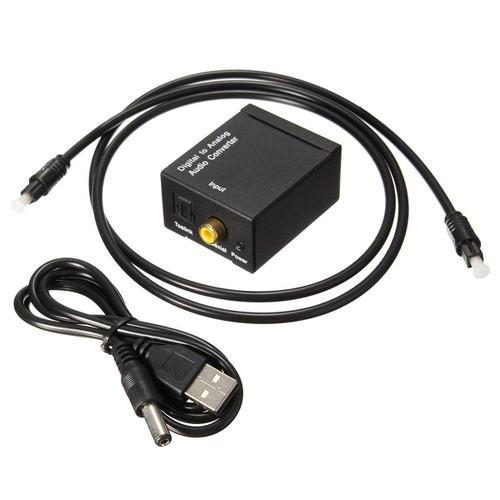 Bộ chuyển đổi tín hiệu âm thanh từ cổng quang optical sang tín hiệu av kèm cáp nguồn và cáp optical