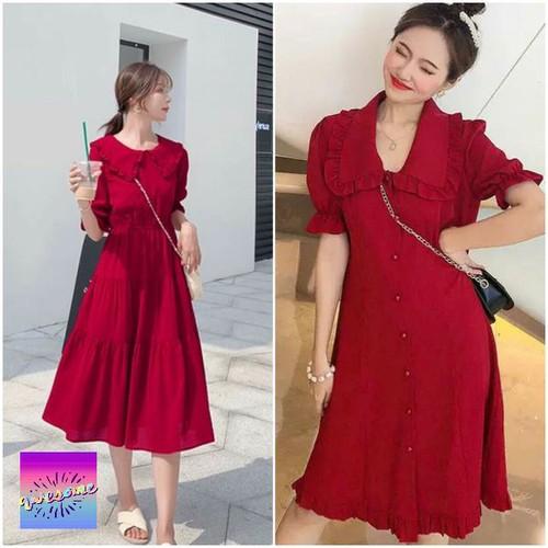 [Sale đón tết] đầm đỏ cổ viền bèo xinh xinh đón tết