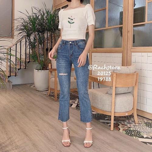 Quần jeans nữ rách đùi phong cách
