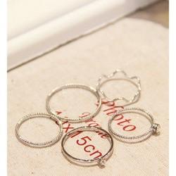 Nhẫn bộ 5 món nhẫn nam nữ thiết kế sáng tạo đẹp thời trang phong cách Hàn Quốc quà tặng xinh xắn