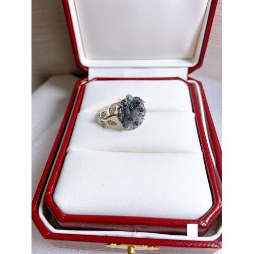 Nhẫn bạc nữ mặt hoa mẫu đơn thạch anh tóc đen dáng lá quấn freesize - 20065098 , 25270973 , 15_25270973 , 650000 , Nhan-bac-nu-mat-hoa-mau-don-thach-anh-toc-den-dang-la-quan-freesize-15_25270973 , sendo.vn , Nhẫn bạc nữ mặt hoa mẫu đơn thạch anh tóc đen dáng lá quấn freesize