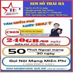 SIM MOBI 4G C90N.6GB. MIỄN PHÍ 3 THÁNG ĐẦU ĐẦU SỐ 090-093