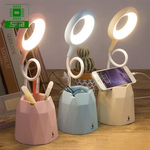 Đèn học để bàn chống cận 3 chế độ sáng - pin 2000mah - hồng